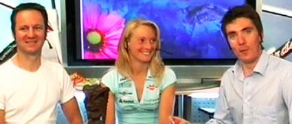 Ebenfalls Gast im Studio: Triathlonexperte Jürgen Sessner (links;  mit Heisi Jesberger in der Hawaii-Nacht 2007).
