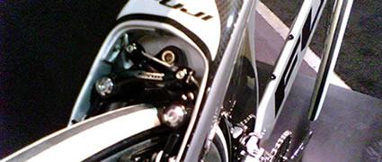 Versteckt im voluminösen Hinterbau: Die Bremse für das Hinterrad