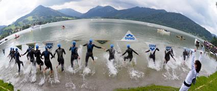 Schwimmstart am Schliersee