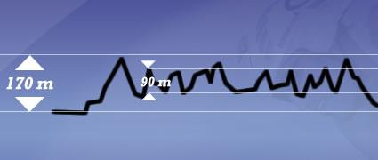 Die vielen Wellen summieren sich auf 1100 Höhenmeter.